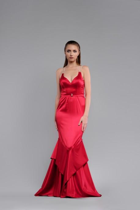 Rochie de seara din tafta rosie